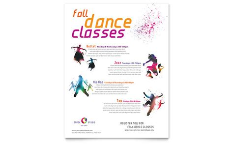 templates for dance flyers dance studio class flyer template word publisher