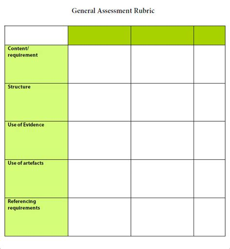 template for rubric rubric template 6 free pdf doc sle templates