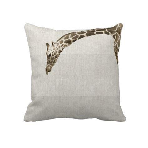 giraffe on linen stripes decorator accent pillow home