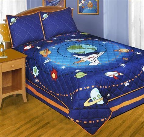 rocket ship bedding space rocket full size quilt shams bedskirt 4 piece