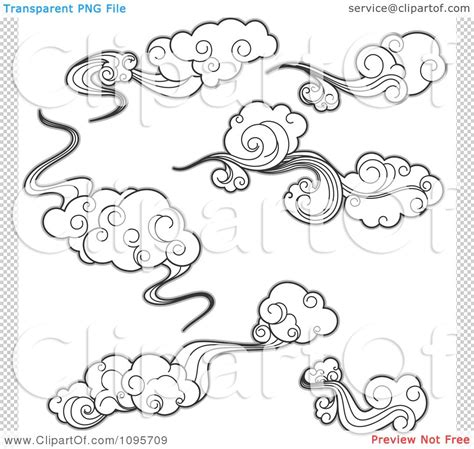 drawings of clouds clipart black and white wispy clouds