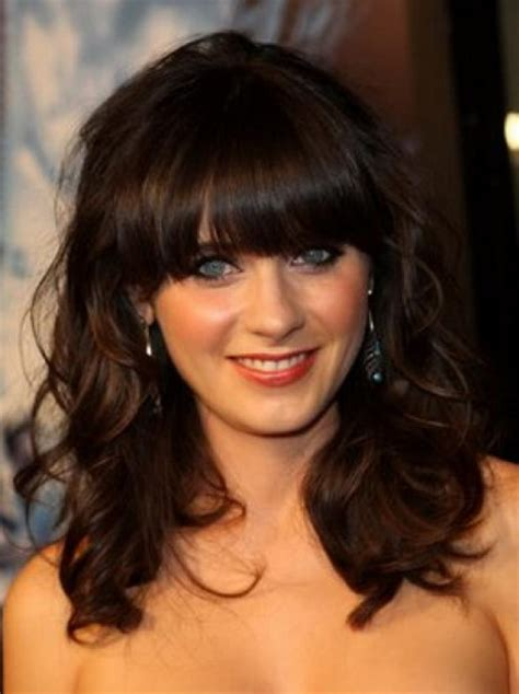wavy blunt medium medium length curly hairstyles with bangs