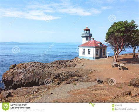 Mba Program Near San Juan Island by Lime Kiln Lighthouse Friday Harbor Washington Stock