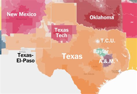 texas colleges and universities map all things fsu college football fan map by county