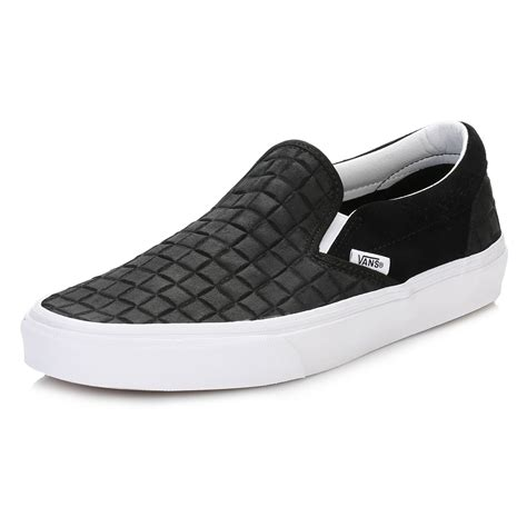 Slip On Korea Impor Black Kece Best Seller vans mens black trainers suede checkers classic slip on low top casual shoes ebay