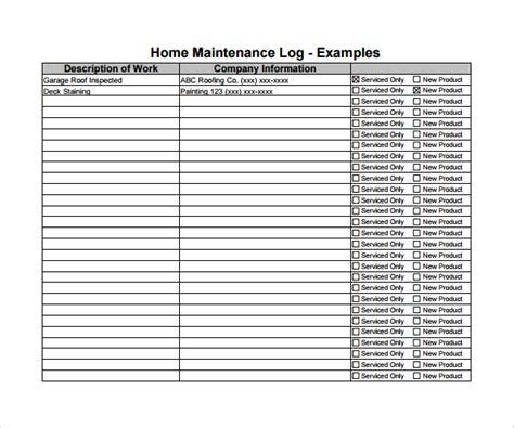 service record template sle maintenance log template 9 free documents in pdf