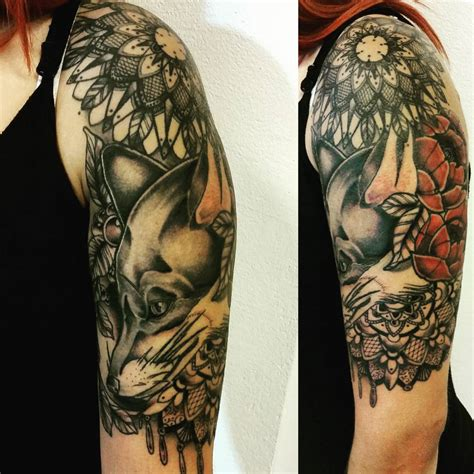 top of shoulder tattoo fox shoulder best ideas gallery