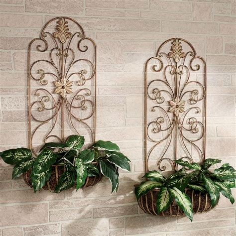 outdoor metal wall decor carrolton indoor outdoor metal wall planter set