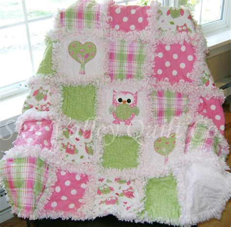 Die Cut Quilt Kits by Prefringed Cut Rag Quilt Kit Spotted Owl Pink And Green