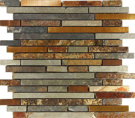 slate backsplashes for kitchens 10sf rustic copper linear slate blend mosaic tile