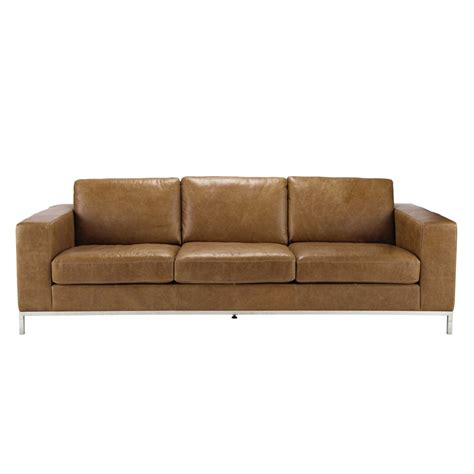 4 seater leather vintage sofa in camel maisons du monde