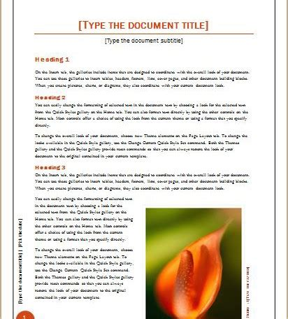 layout of a scientific report document templates