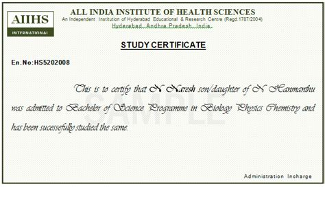 Study Certificate Letter Writing Study Certificate Sle With Periods Studio Design Gallery Best Design