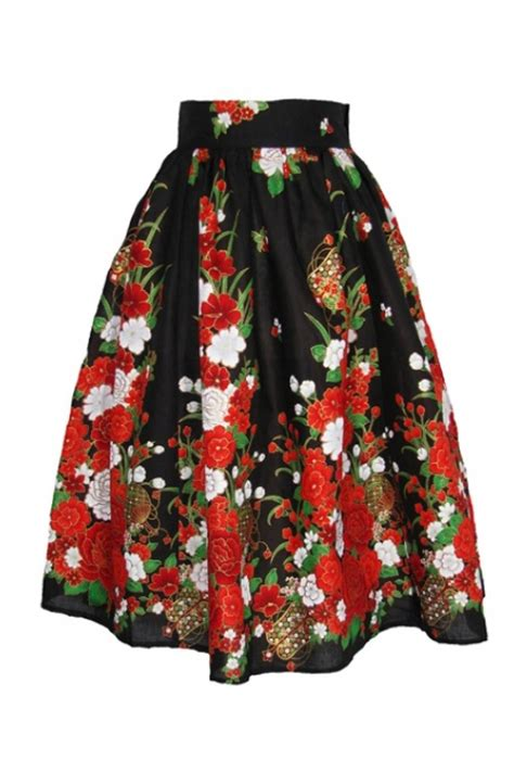 Flower Skirt Rok skirt flowers black