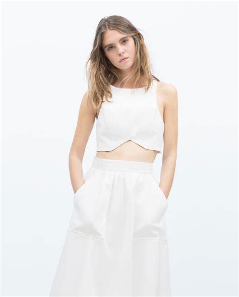 Zara Top zara crop top in white lyst