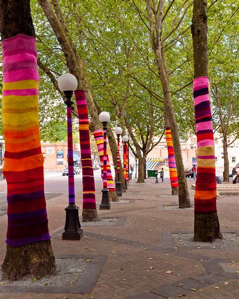 knitted trees knitted trees  art installation