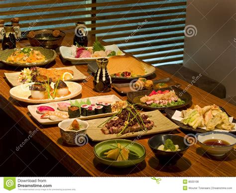 table of food beautiful table of japanese food stock photo image 8505108
