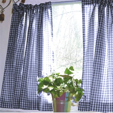 blue and white gingham curtains dark royal blue gingham kitchen caf 233 curtain unlined or