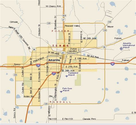 amarillo tx map of texas amarillo texas map