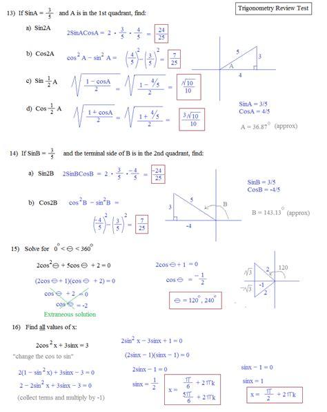Pre Mba Math Review by Worksheet Trigonometry Worksheets Pdf Grass Fedjp