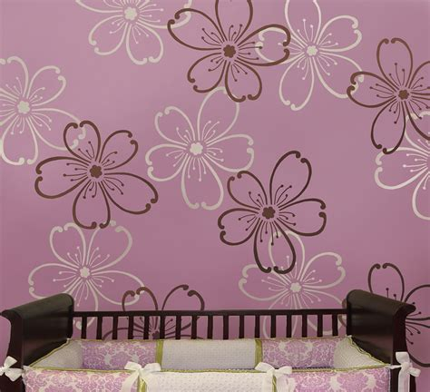 floral wall stencils for bedrooms stencils flower power 2 pc lg reusable stencils better than