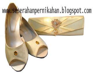 Bros Batu Besar Kuning Orange seserahan pernikahan tas pesta dan sepatu pesta kuning