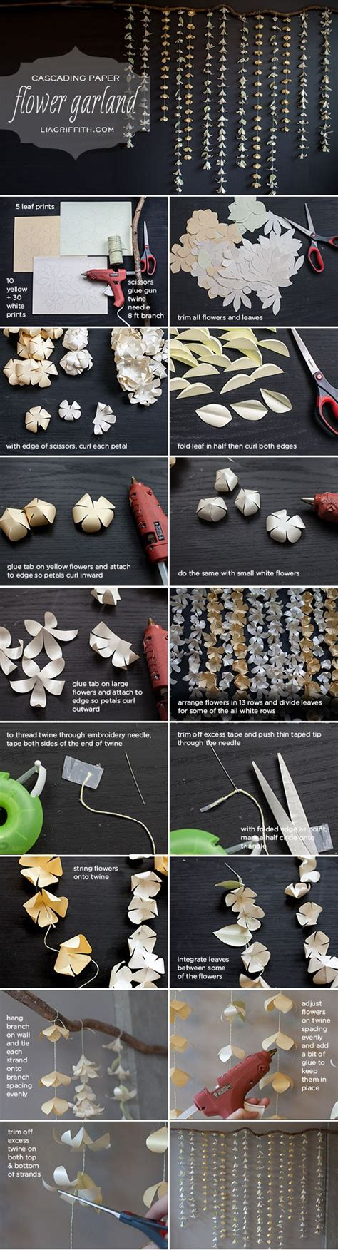 Paper Flower Garland Tutorial | cascading paper flower garland tutorial paper flower