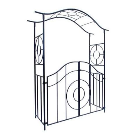 Garden Arbor With Gate Home Depot Achla Designs Tuscany 84 In H X 66 25 In W Wrought Iron