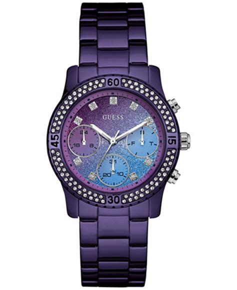 Guess Shine Blue Tanggal 2 guess s purple stainless steel bracelet 37mm u0774l4 watches jewelry watches