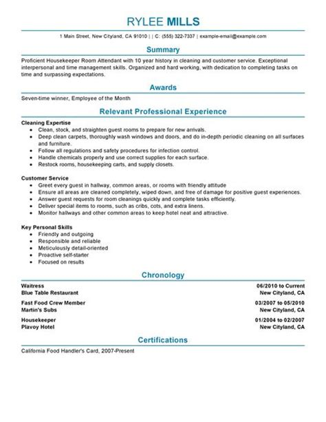 Resume Sles For Housekeeping Attendant Cover Letter Hotel Housekeeping