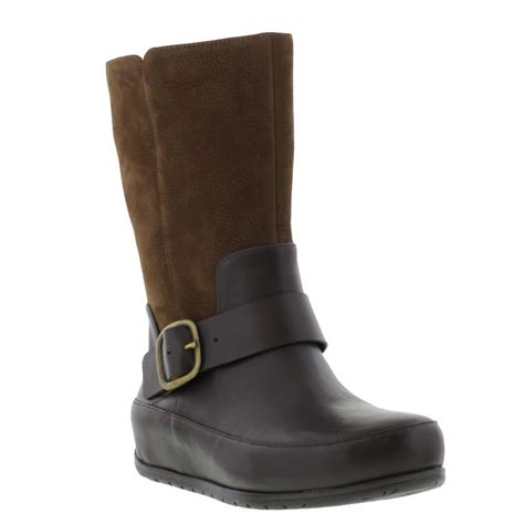 womens brown leather biker boots fitflop ff2 due boot womens leather brown pull on boots