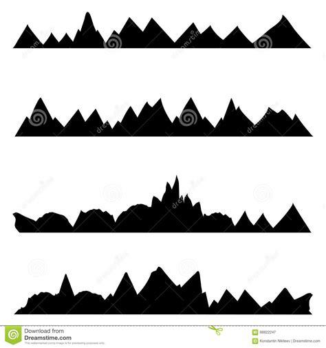 Set Aa Black White set of vector silhouettes of the mountains on white