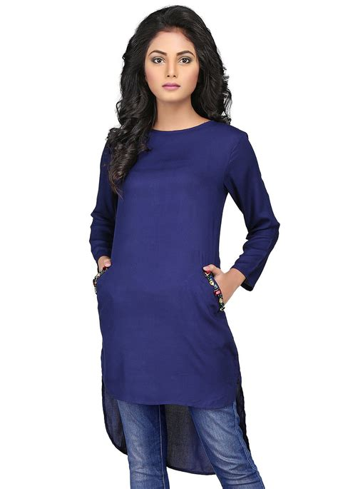Tunik Rayon 1 plain rayon high low tunic in navy blue thu519