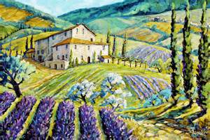 Fine Art Shower Curtain Lavender Hills Tuscany By Prankearts Fine Arts Painting By