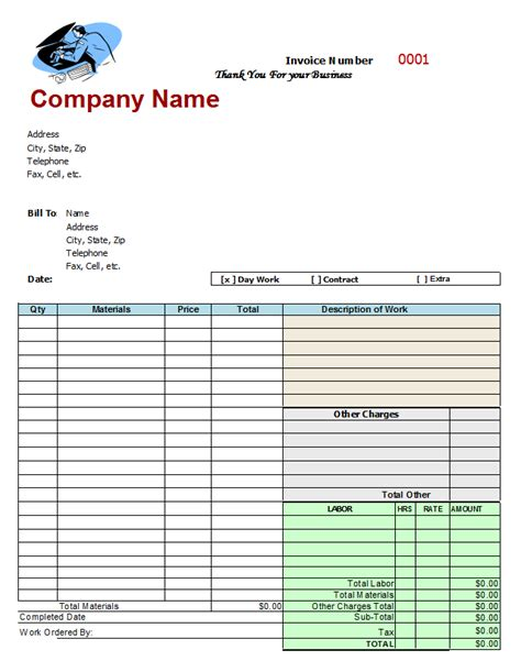 Mechanic Receipt Template Free by Mechanics Invoice Auto Repair Invoice Template