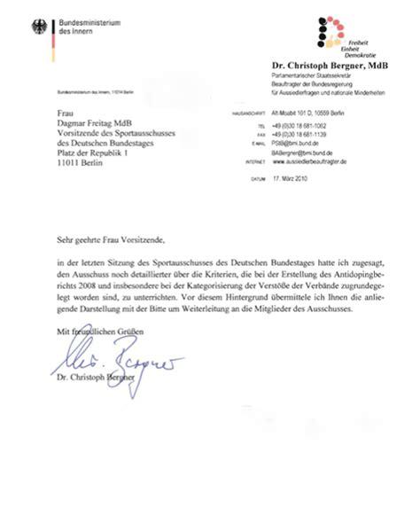 Offizieller Brief Form Dopingbericht 2008 Und S 228 Umige Verb 228 Nde Christoph Bergners Brief An Dagmar Freitag Sport