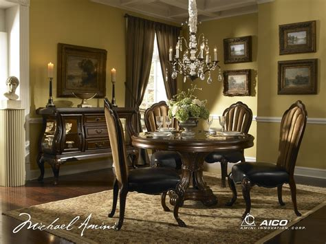 Round Formal Dining Room Sets | buy palace gate round dining room set by aico from www mmfurniture com