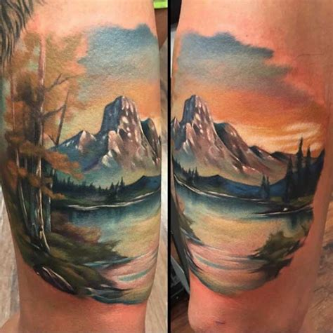 watercolor mountain tattoo 20 scenic landscape tattoos tattooblend