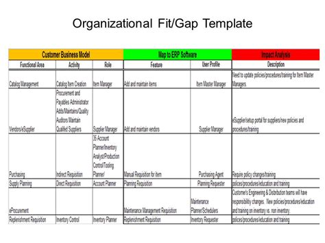 fit gap analysis template xls erp project 101 organizational fit gap erp the right way