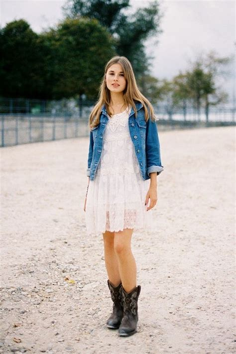 Short White Dresses On Pinterest Cowboy Boot Outfits | short lace dress cowgirl boots and a denim jacket would