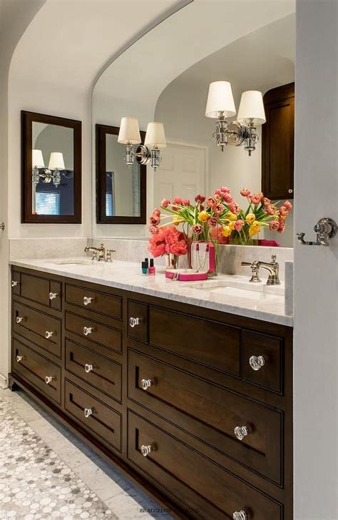 Brown Bath Vanity with Gold Mirror   Transitional   Bathroom
