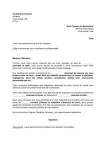 Modèles De Lettre De Licenciement Pour Insuffisance Professionnelle exemple gratuit de lettre licenciement salari 233