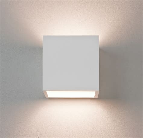 astro pienza square cube ceramic plaster wall light 60w