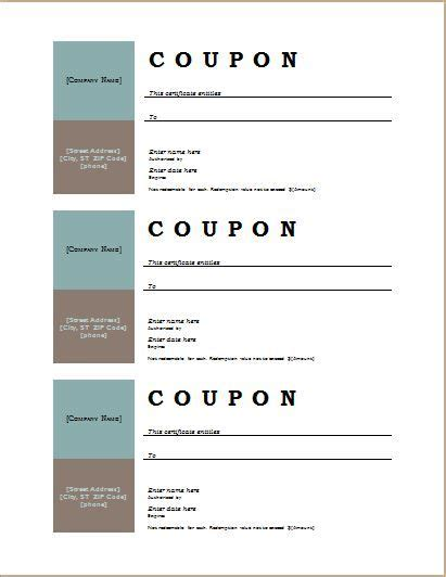 Promotion Card Template Free Word by Coupon Template For Ms Word At Http Worddox Org