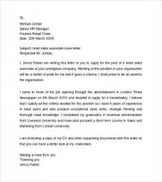 Retail Cover Letter Sales Associate by Retail Cover Letter Templates 8 Sles Exles