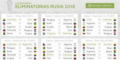 Calendario Colombia Eliminatorias Al Mundial 2018 Infograf 237 A Calendario Eliminatorias Otras Ligas