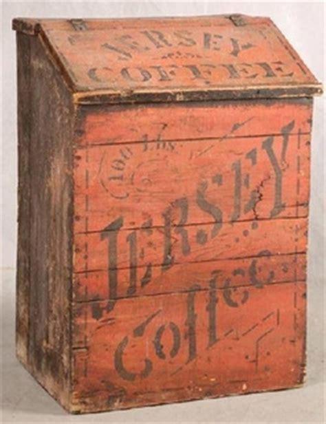 antique country store coffee bin coffee coffee store bin jersey coffee pine slant lid red paint