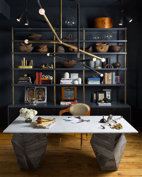 Home Office Design Masculine Interior Navy Color Modern Decor