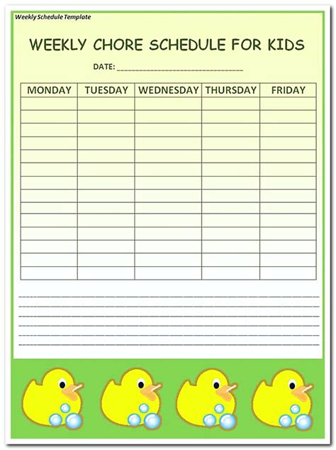 Kid Schedule Template by Using Weekly Schedule Template To Help You Plan Your Week