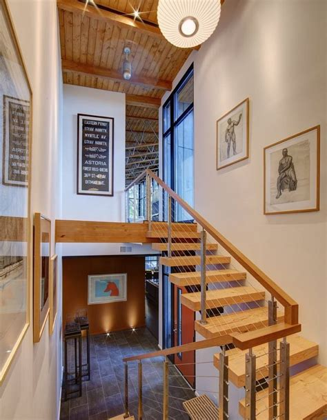 wooden floating staircase  balustrade  horizontal